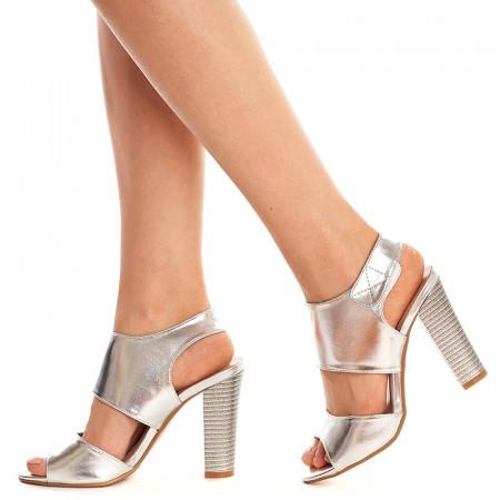 Sandale cu toc gros Theresa argintiu
