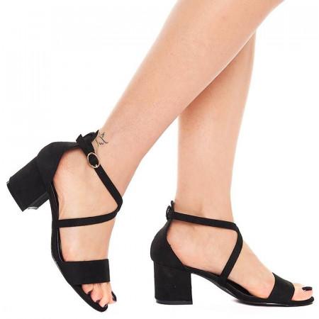 Sandale cu toc mic din velur Salma