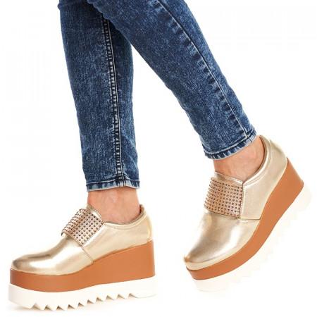 Sneakers cu platforma si talpa inalta Theresa auriu