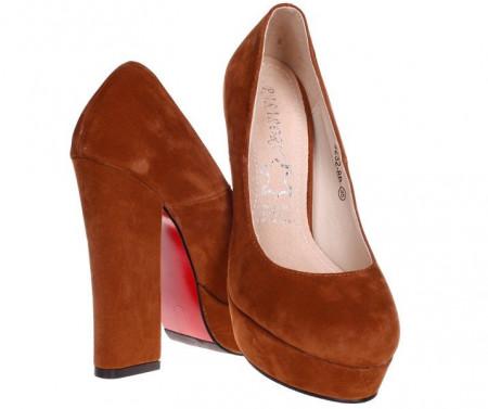Pantofi camel cu toc gros Odetta