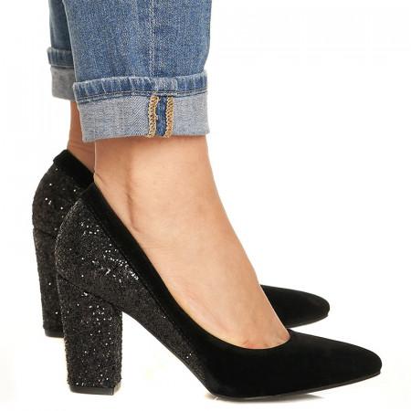 Pantofi cu toc gros din velur si paiete pe toc Salma negru