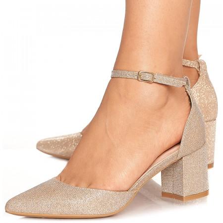 Pantofi de ocazie cu toc mediu decupat Antonia auriu