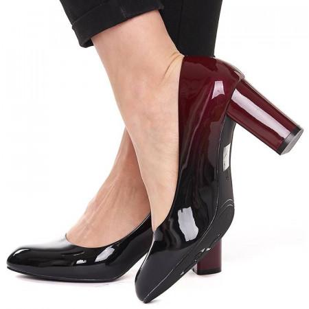 Pantofi office chic cu toc gros din lac negru si grena Lia
