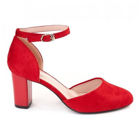 Pantofi office decupati cu bareta din velur Salma rosso