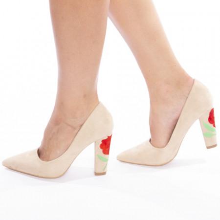 Pantofi stiletto cu toc gros din velur Sabrina