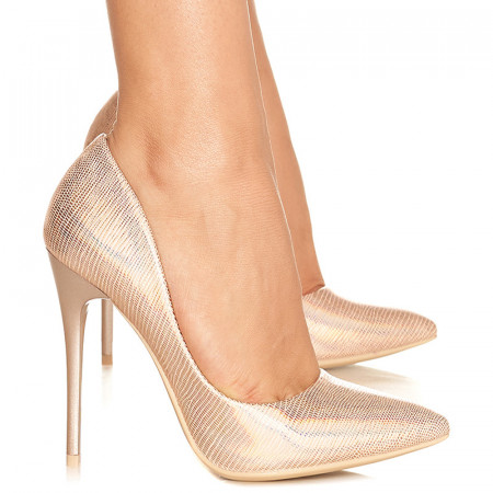 Pantofi stiletto cu toc inalt Gabriela bej
