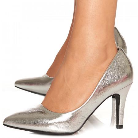 Pantofi stiletto cu toc mediu de ocazie Martina argintiu