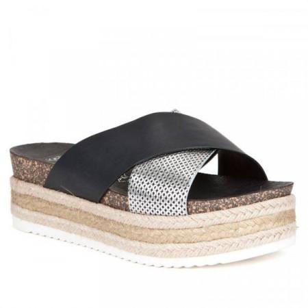 Papuci dama, cu platforma, Negru