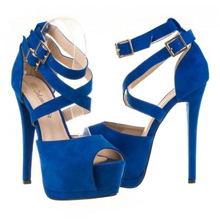 Sandale cu platforma din velur clubbing Blue