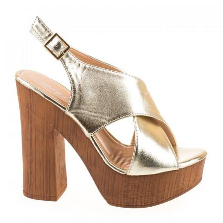 Sandale cu platforma imitatie lemn Rosalia