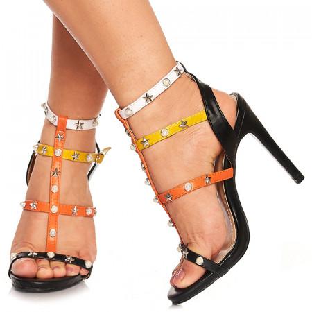 Sandale cu toc elegante Adelie negru
