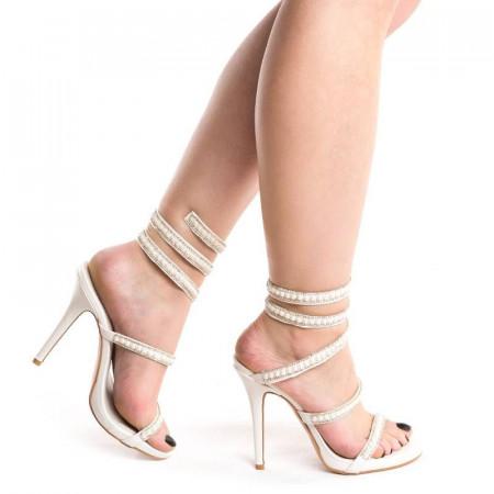 Sandale cu toc elegante Alessia alb