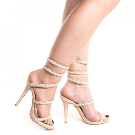 Sandale cu toc elegante Alessia bej