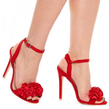 Sandale cu toc inalt din velur Amalia rosu