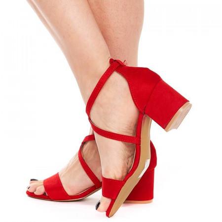 Sandale cu toc mic din velur Salma rosso