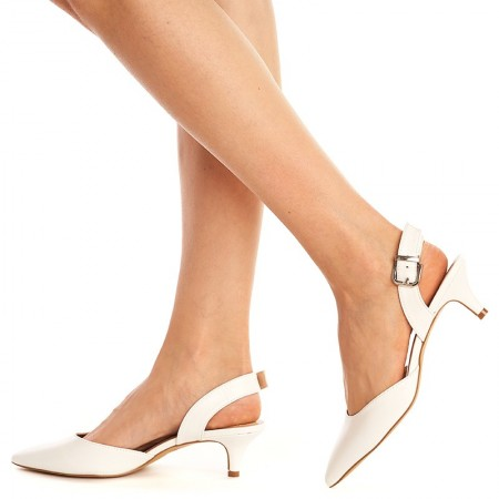Sandale cu toc mic Sara alb