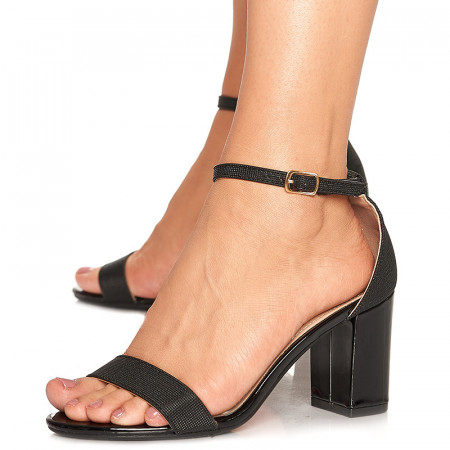 Sandale de ocazie cu toc mediu Leticia negru