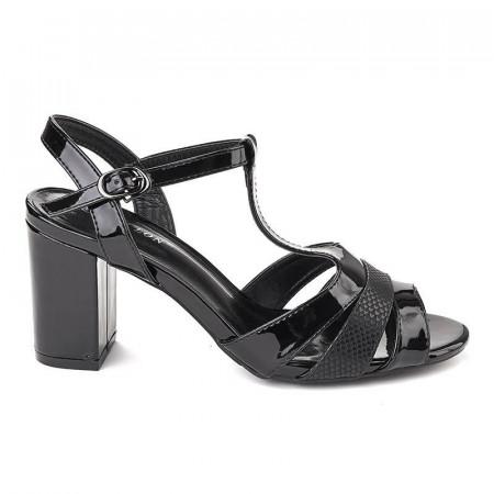 Sandale office cu toc mic Bianca nero lac