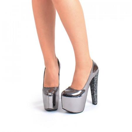 Pantofi cu platforma metalic Angelina