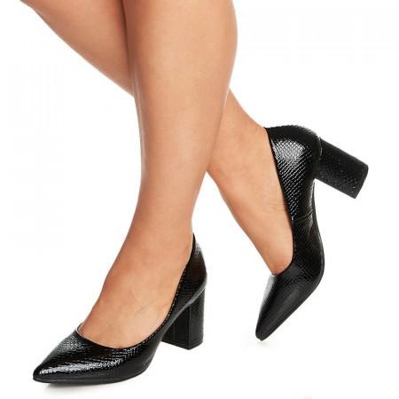 Pantofi office cu toc mediu gros Aglaia negru