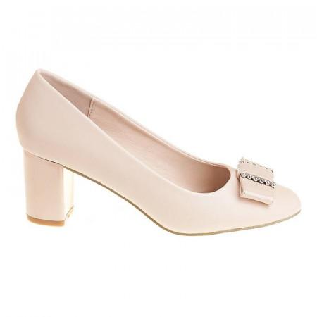 Pantofi office cu toc mic Adela bej