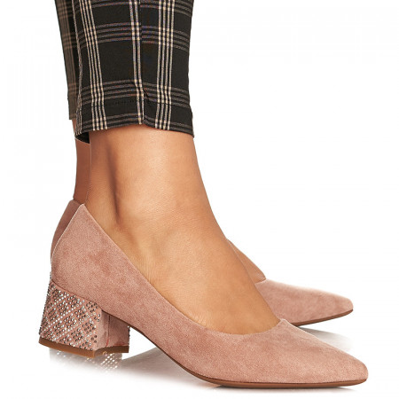 Pantofi office cu toc mic Milano roz