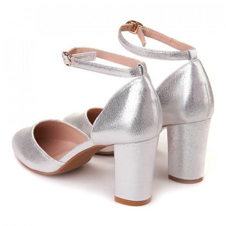 Pantofi office decupati cu bareta Salma Arginto
