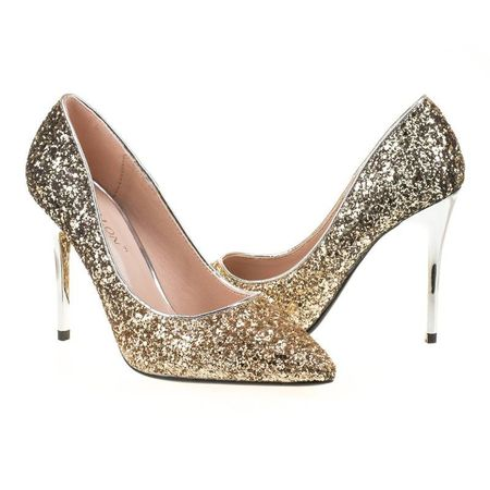 Pantofi stiletto din glitter Martina gold