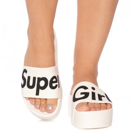 Saboti cu talpa inalta sport rich Super girl alb