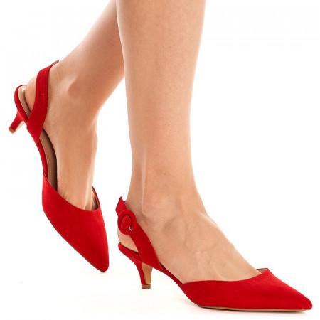 Sandale cu toc mic Mira rosu