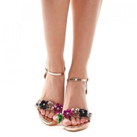 Sandale cu toc si flori elegante Amalia oro