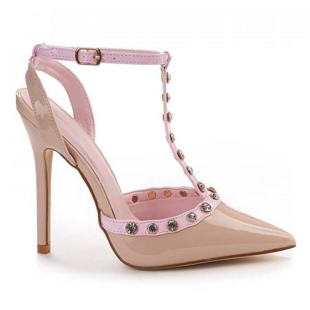 Sandale stiletto cu toc inalt Gabriela bej