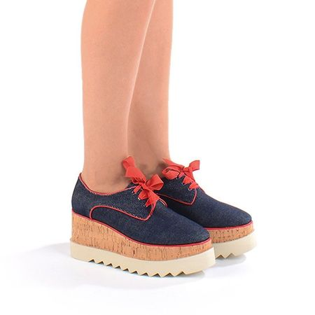 Pantofi casual cu talpa inalta navy Mia
