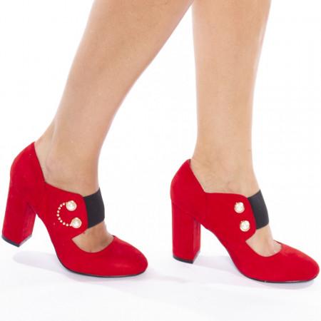Pantofi cu toc gros din velur Carmela