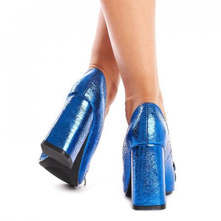 Pantofi cu toc gros trendy Alexa albastru