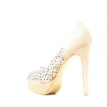 Pantofi cu toc inalt si platforma din velur Aniela bej