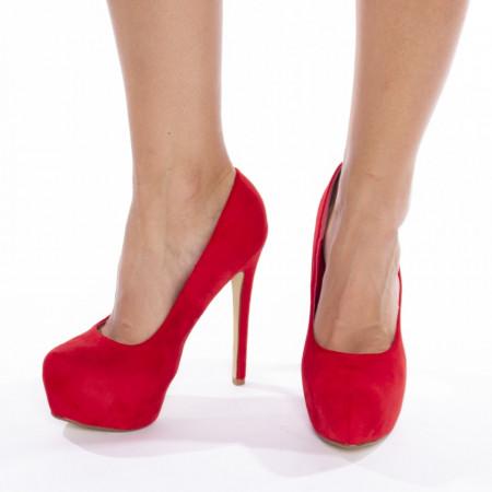 Pantofi cu toc inalt si platforma din velur Lucia