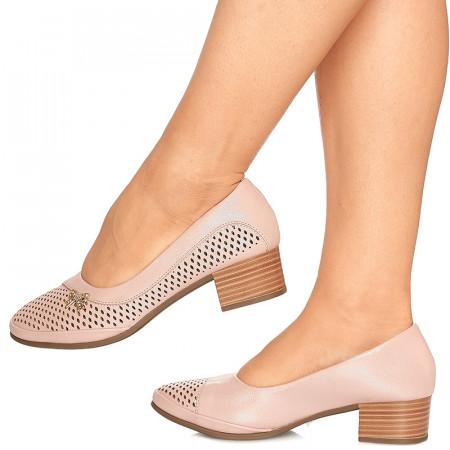 Pantofi cu toc mic Maria roz