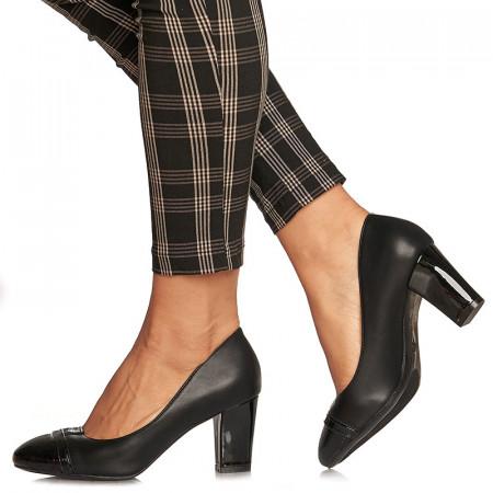Pantofi office cu toc mediu gros Emilia negru