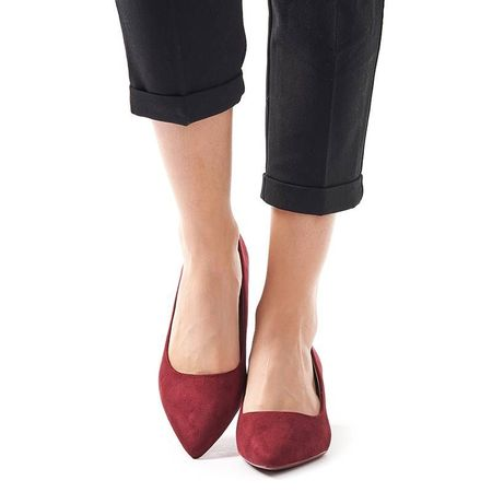 Pantofi stileto cu toc mic din velur Clara bordo