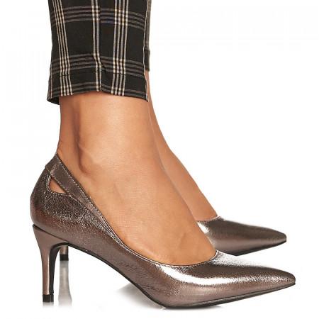 Pantofi stiletto cu toc mediu Amalia gri