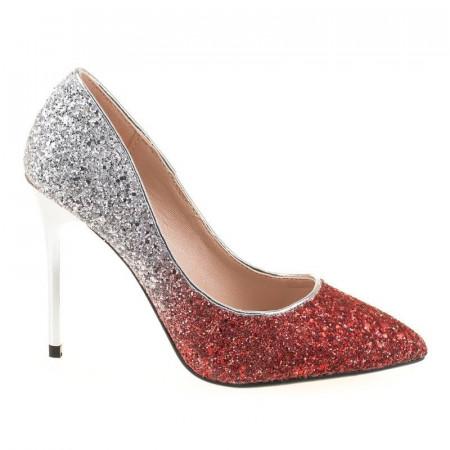 Pantofi stiletto din glitter Bianca rosii