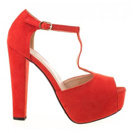 Sandale cu platforma din velur Mia red