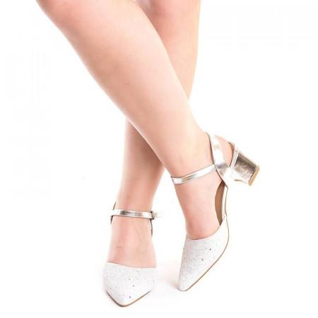 Sandale de ocazie cu toc mic Martina argintii
