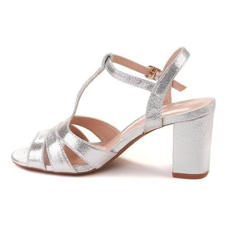 Sandale office cu toc mic Bianca arginto