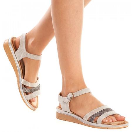 Sandale Piele Gri cu Talpa Joasa Mira