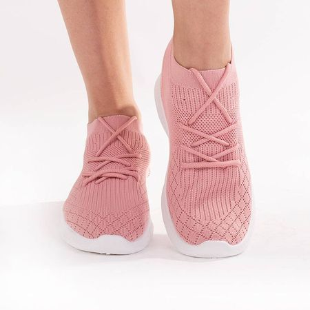 Sneakers trendy din material textil cu siret Crissy pink