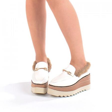 Pantofi casual cu talpa inalta cu blana Gia