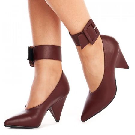 Pantofi cu toc gros si curea pe glezna inclusa Amalia