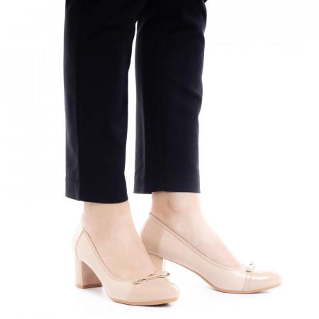 Pantofi dama office cu toc mic Daria nude